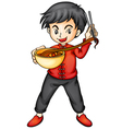 a boy eating noodles vector image vector image