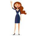 carroty woman waving her hand flat cartoon vector image