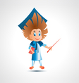 Guy university graduate with pointer vector image