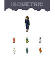 isometric people set of lady doctor cleaner and vector image