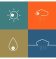 Set icons indicate weather clear cloudy rain vector image