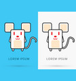 White rat cute cartoon vector image