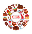 dessert and pastry sweets cartoon poster design vector image
