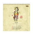 Calendar 2014 october Art horses for your design vector image