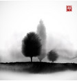 landscape with trees in fog hand drawn with ink in vector image