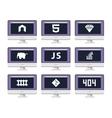 software coding icon set - programming vector image