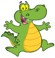 Happy Alligator Jumping vector image vector image