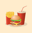 burger french fries and soda cup - cute cartoon vector image