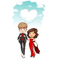 Couple standing side by side vector image