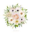 flower round wreath bouquet of garden pink peach vector image
