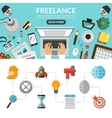 Freelance concept background banner in flat style vector image