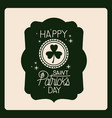 happy saint patricks day with round clover emblem vector image