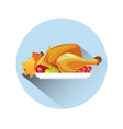 roasted turkey icon happy thanksgiving day concept vector image