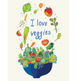 Vegetables card - vegetarian menu vector image