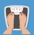 woman weighed on floor scales vector image