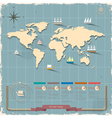 World map in retro style design vector image