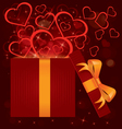 Magic light gift box hearts vector image