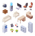 office interior isometric elements vector image