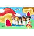 Five students near the giant mushroom houses vector image vector image