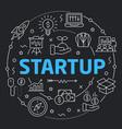 black line flat circle startup vector image