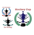 Ice hockey emblems and symbols vector image