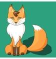 Orange fox sitting isolated on neutral background vector image