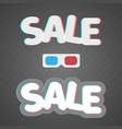 3d effect anaglyph of sale icons on transparent vector image