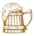 wooden beer mug vector image vector image