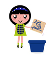 girl recycle paper box vector image vector image