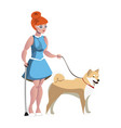blind woman walking with guide dog vector image