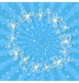 Blue rays background with abstract white flowers vector image