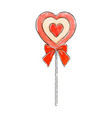 hand drawn lollipop in the shape of a heart vector image