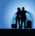 man and woman with travel bag on moonlight vector image