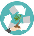 Recycling center icon with hand and tree Flat vector image