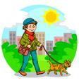 walking the dog vector image
