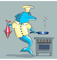 The dolphin is the cook vector image vector image