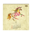Calendar 2014 july Art horses for your design vector image