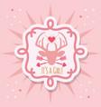 cute pink its a girl deer emblem sticker card vector image