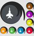 fighter icon sign Symbol on eight colored buttons vector image