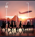Silhouette people on airport background vector image