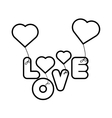 lettering love hearts hanging outline vector image
