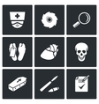 Pathologist and morgue icons vector image