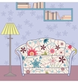 Cartoon funny interior with couch painted vintage vector image