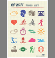 Sport web icons set drawn by color pencils vector image vector image