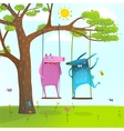 Summer tree friends animals monsters cute and vector image