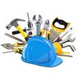 construction helmet with instruments vector image