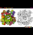 fruit characters coloring page vector image vector image