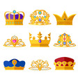 princess diadems and golden crowns of kings and vector image