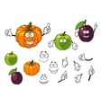 Cartoon pumpkin plum and apple vector image