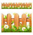 Grass and wooden fence seamless border vector image vector image